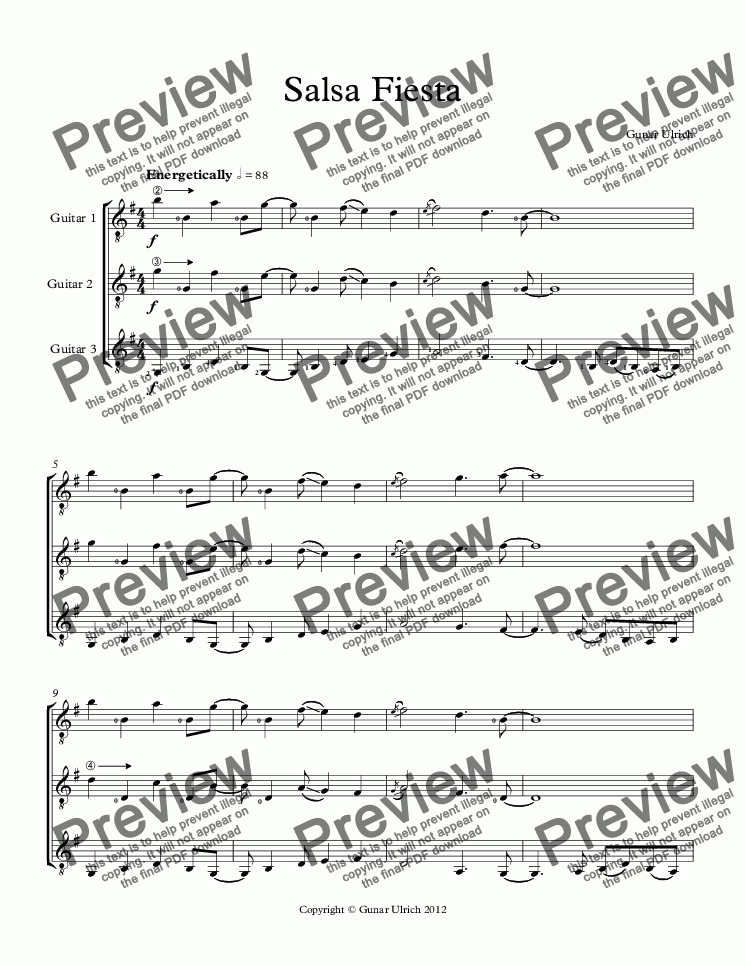 page one of Salsa Fiesta Guitar Trio