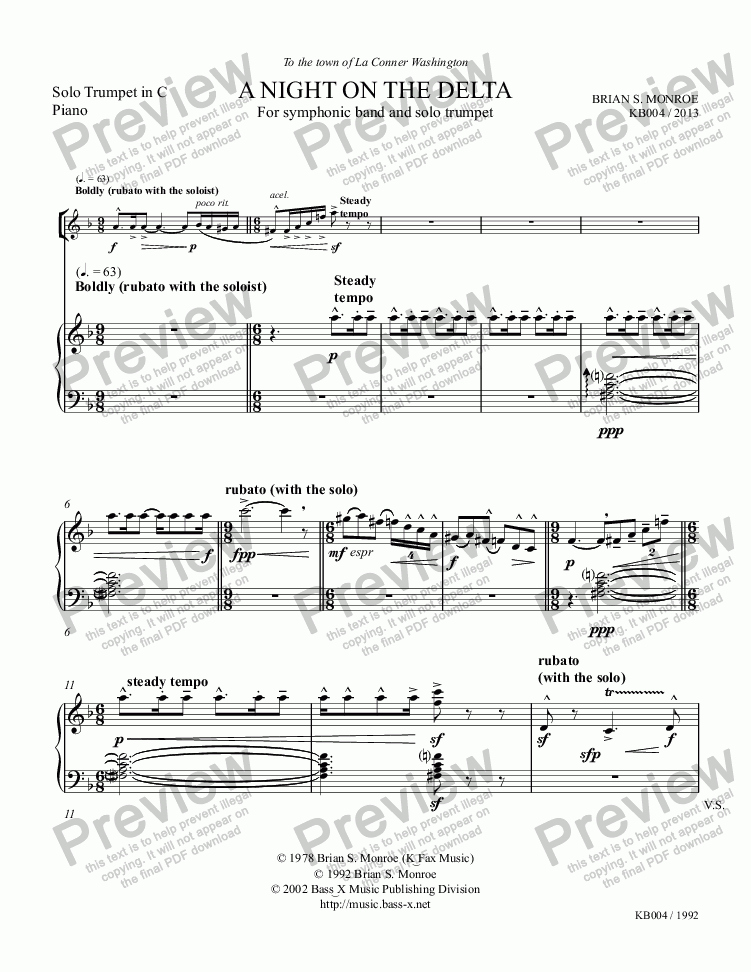 page one of A Night on the Delta (Arr. for Trumpet/Piano)ASALTTEXT