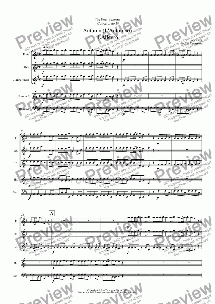 "page one of Four Seasons:Autumn.(L'Automno) (Complete:Mvt I ""Peasant's Dance Mvt II ""Sleep without care"" Mvt III ""The Hunt"")(Wind quintet)"