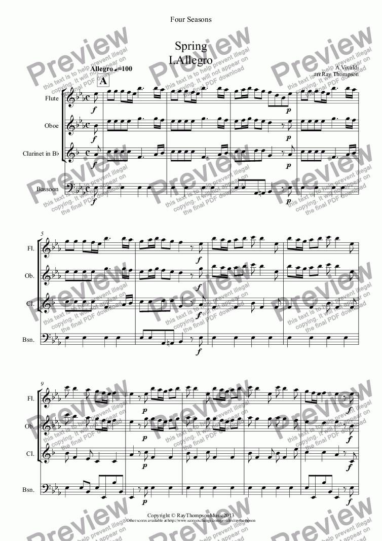 "page one of Four Seasons:A Suite of 4 Movements (easier and abridged):Spring:Mvt.I (""Arrival of Spring"") Winter:Mvt.II (""Peaceful Days in front of the Fire"") Autumn:Mvt I (""Peasant's Dance"") Mvt III ('The Hunt"")(Wind Quartet)"