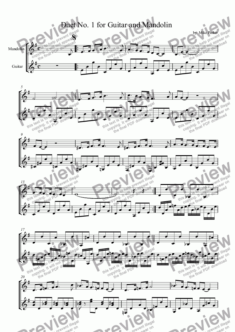 page one of Duet No. 1 for Guitar and MandolinASALTTEXT