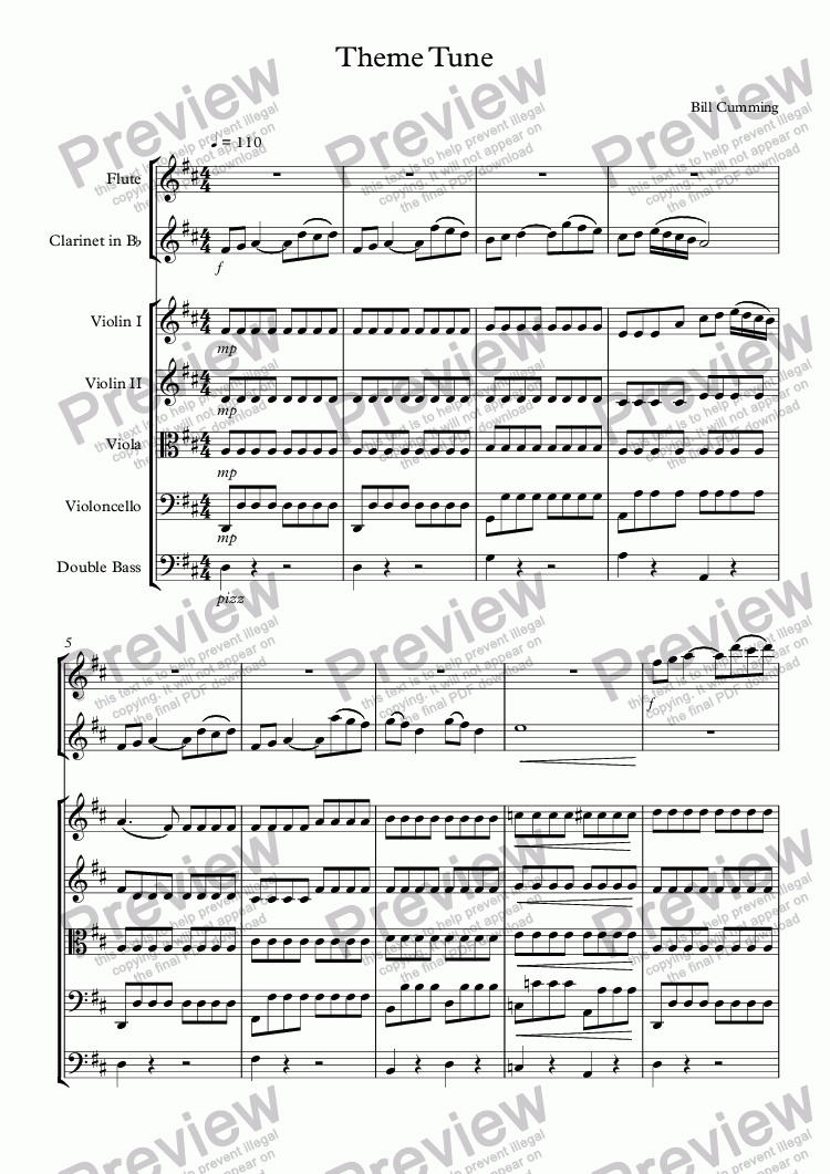 page one of Theme Tune