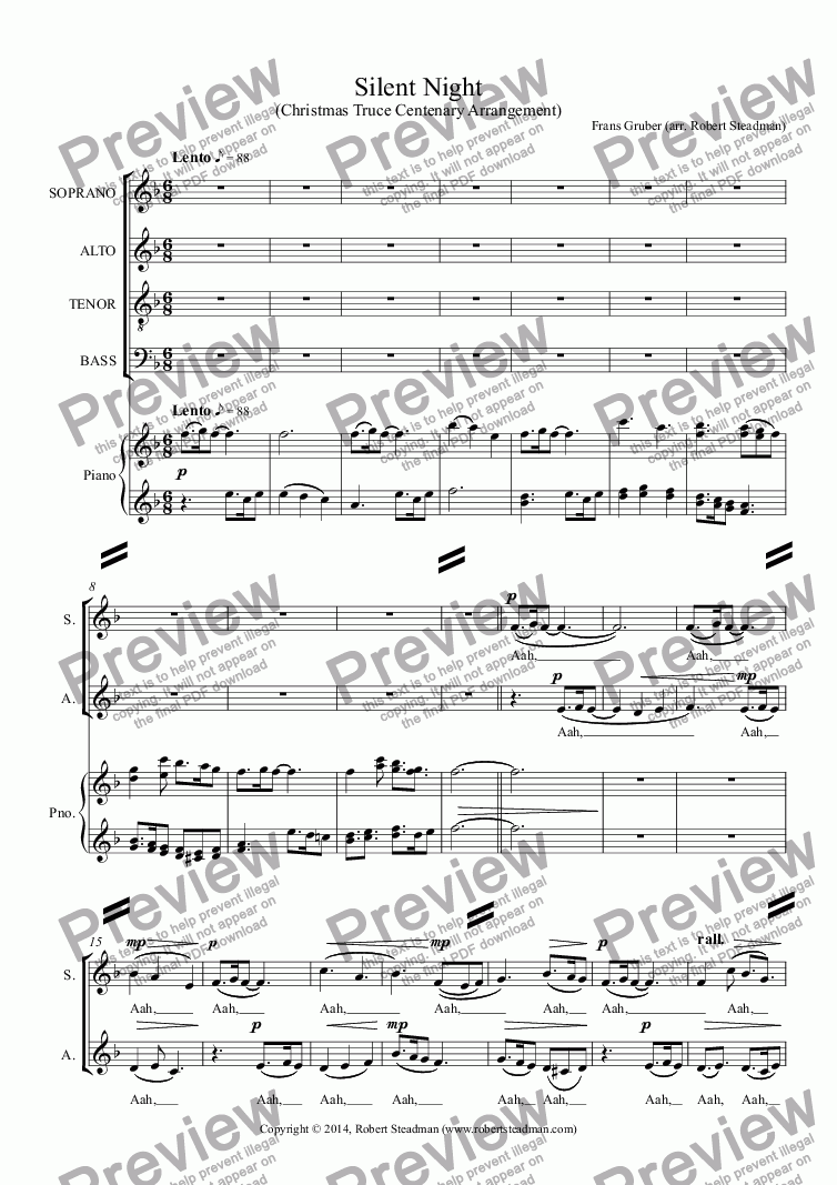page one of Silent Night (Christmas Truce Centenary Arrangement)