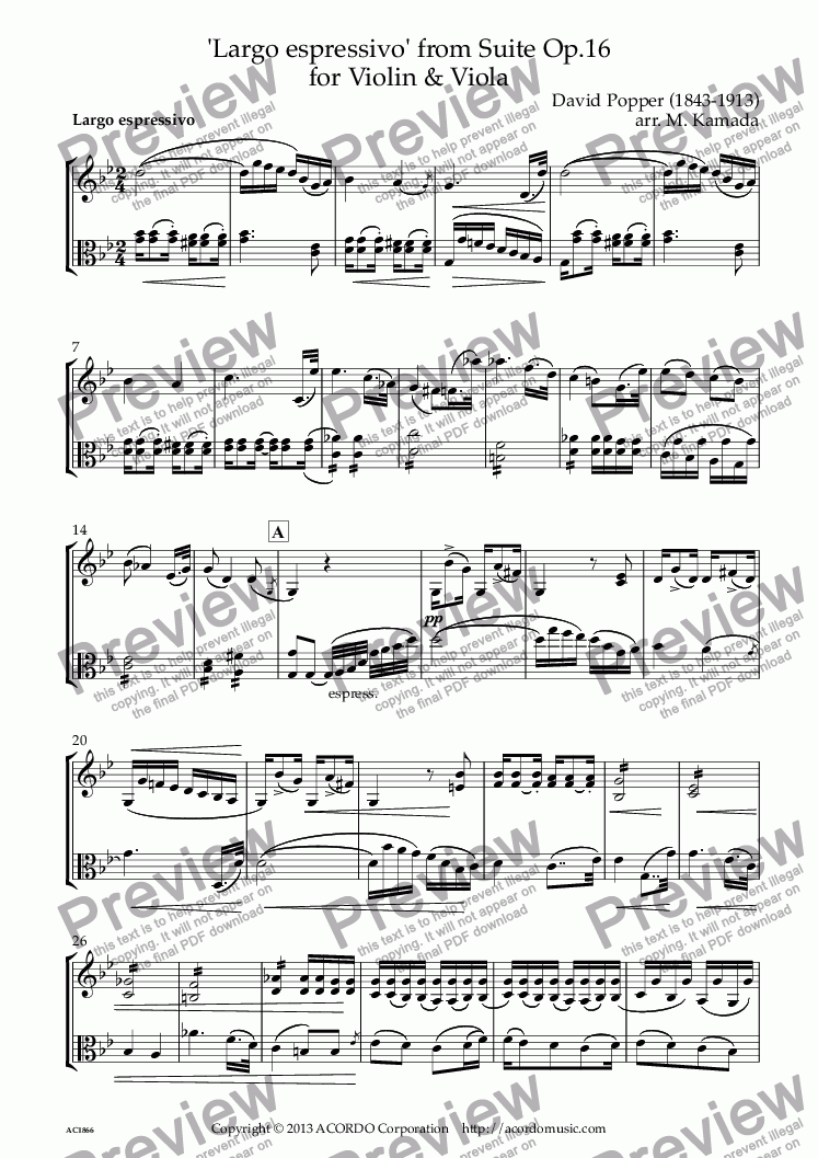 page one of 'Largo espressivo' from Suite Op.16 for Violin & Viola