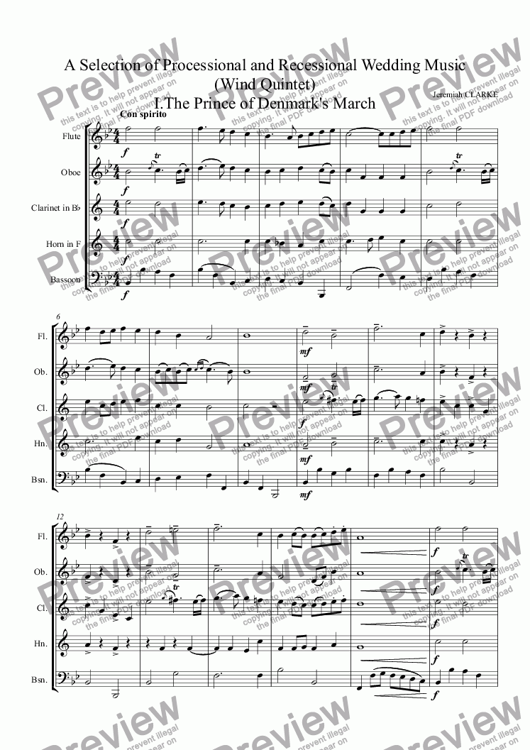 Wedding Recessional Music.Wedding Music For Wind Quintet A Selection Of Processional And Recessional Music I Prince Of Denmark Ii Hornpipe Iii Rondeau Abdelazer Iv Trumpet