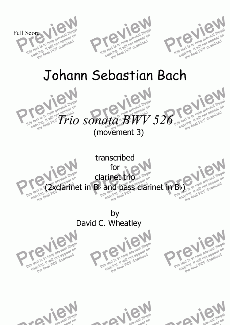page one of Bach trio sonata BWV 526 mvt 3 transcribed for clarinet trio (2xBb+bass) by David Wheatley