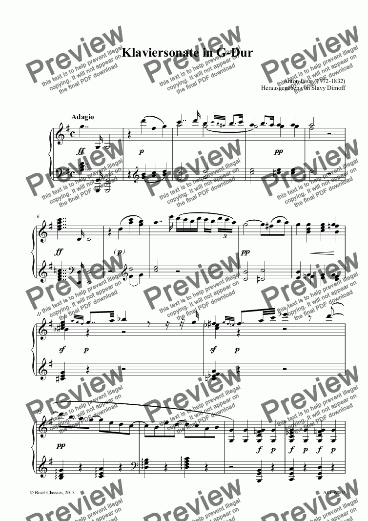 page one of Klaviersonate in G-Dur