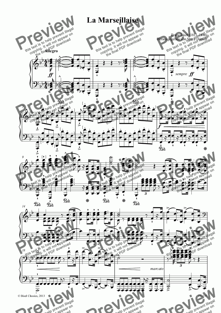 page one of La Marseillaise, S. 237