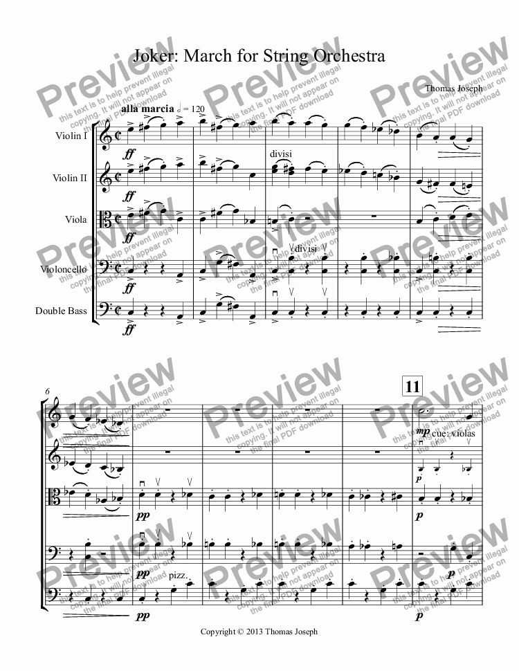 page one of Joker: March for String OrchestraASALTTEXT