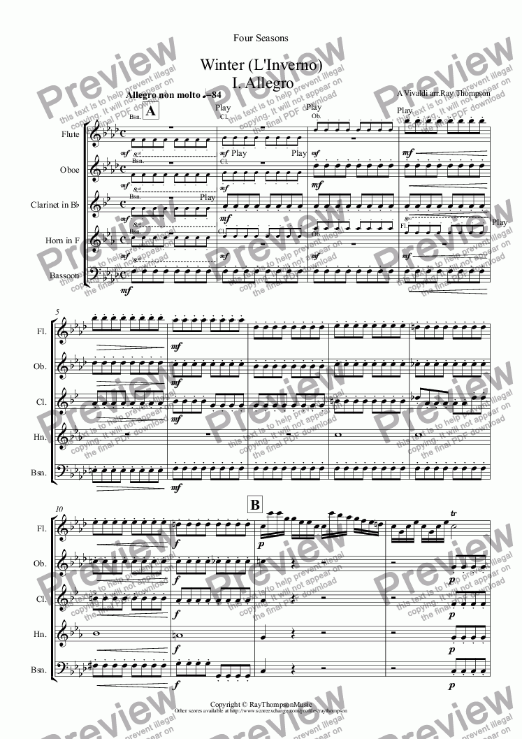 page one of Four Seasons:Winter (L'Inverno) (Complete: Mvt.I Allegro Mvt.II Largo Mvt.III Allegro