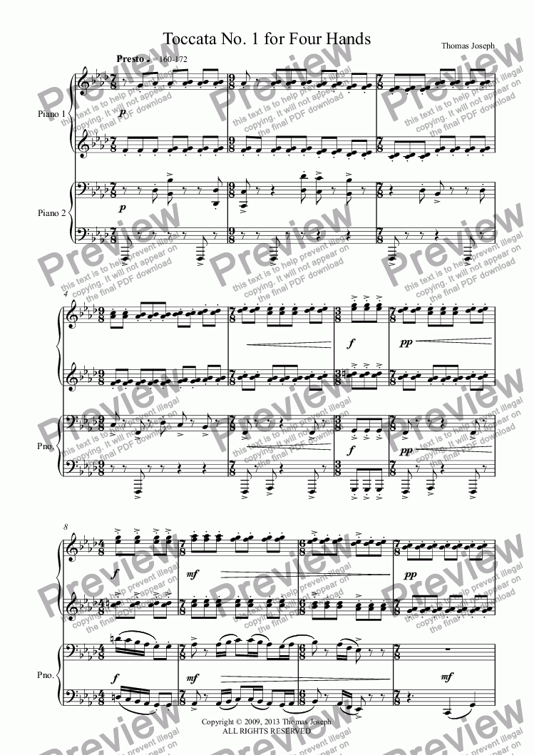 page one of Toccata No. 1 for Four HandsASALTTEXT