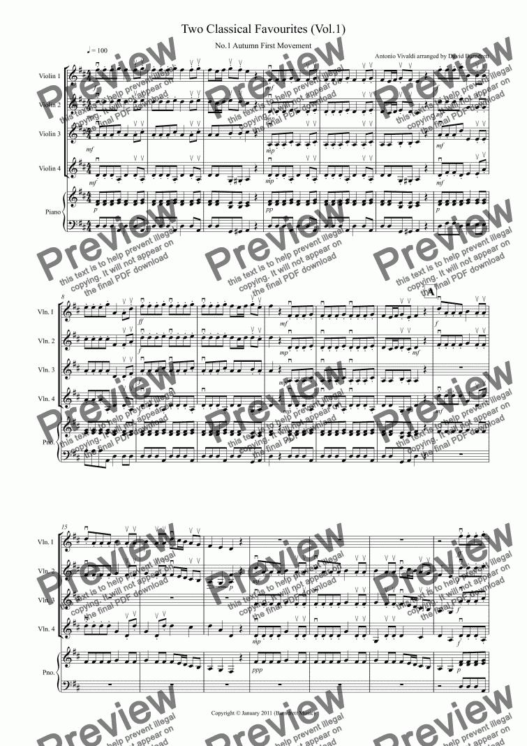 2 Classical Favourites for Violin Quartet (volume one) for Quartet of Solo  Violins by Antonio Vivaldi, Edvard Grieg arranged by David Burndrett -