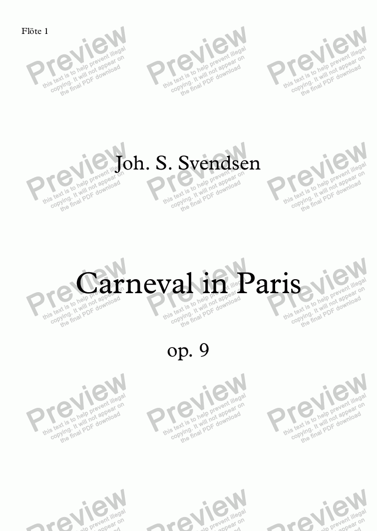 page one of Svendsen, Carneval in Paris op. 9 – fl1