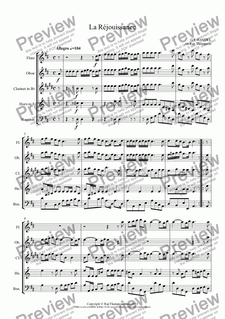 page one of Royal Fireworks Music (Feuerwerksmusik):Wedding Music for Wind Quintet:: La Réjouissance (Wedding Processional)(Wind Quintet)