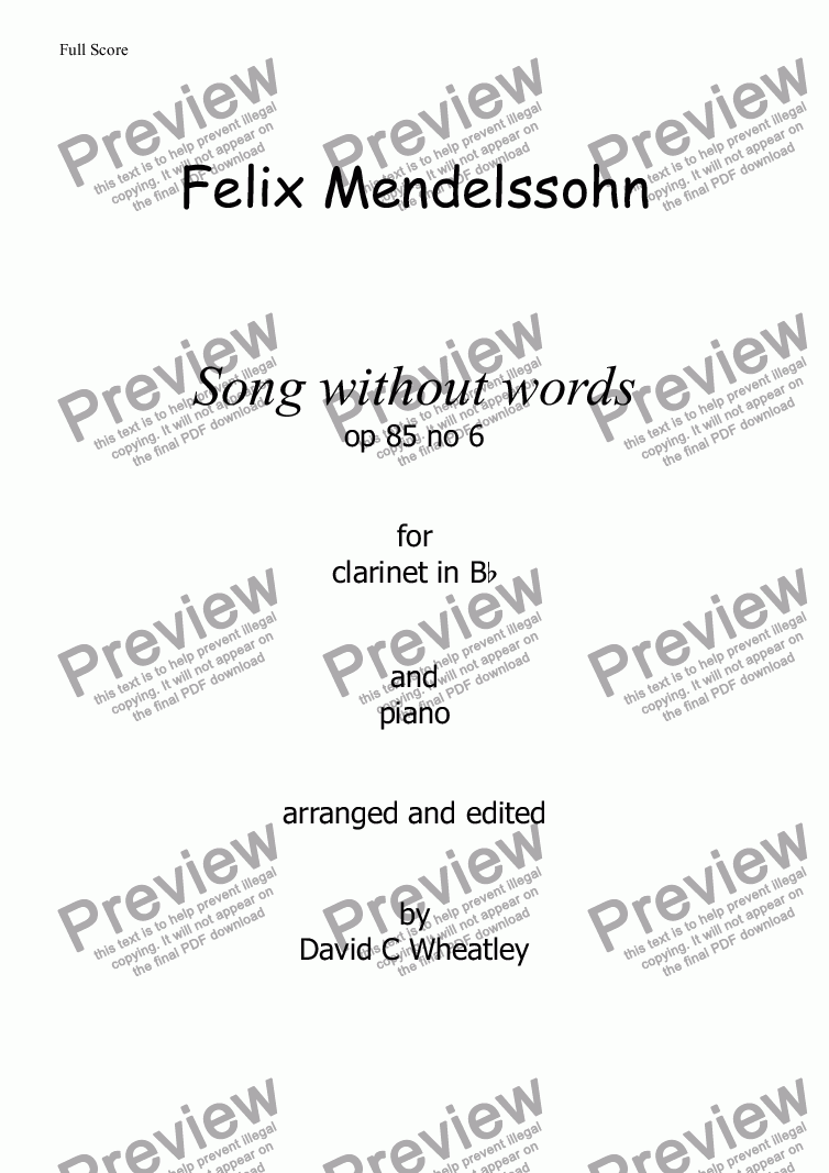 page one of Mendelssohn - Song without words (op 85 no6) for clarinet choir