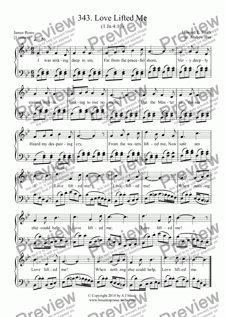 page one of Love Lifted Me - Easy Piano 343