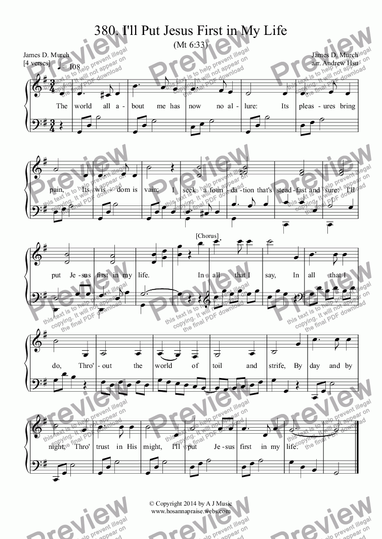 page one of I'll Put Jesus First in My Life - Easy Piano 380