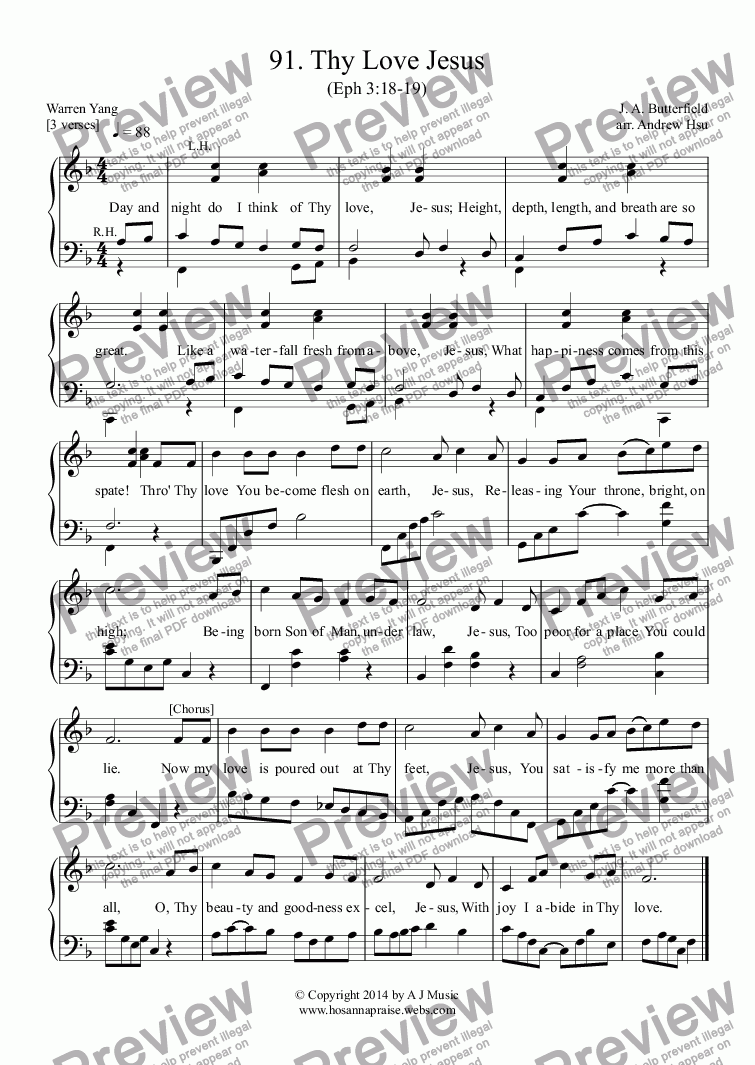 page one of Thy Love Jesus - Easy Piano 91ASALTTEXT