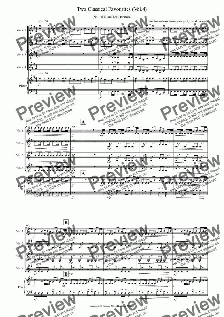 page one of 2 Classical Favourites for Violin Quartet (volume four)
