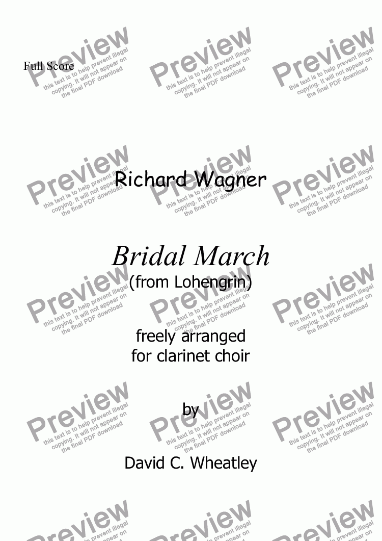 page one of Wagner - Bridal March (Lohengrin) for clarinet choir