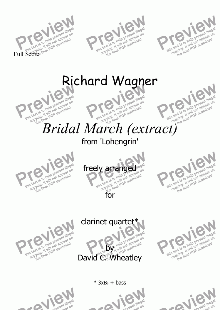 page one of Wagner - Bridal March (Lohengrin) for clarinet quartet