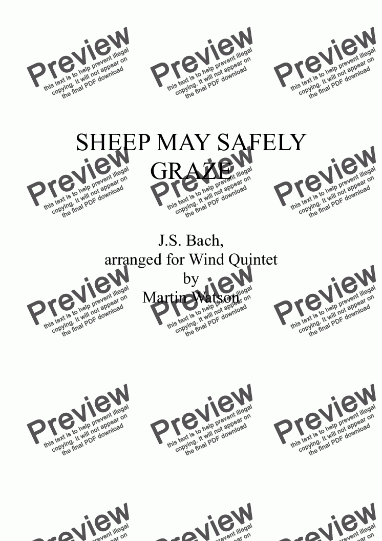 page one of Sheep May Safely Graze for Wind Quintet.ASALTTEXT