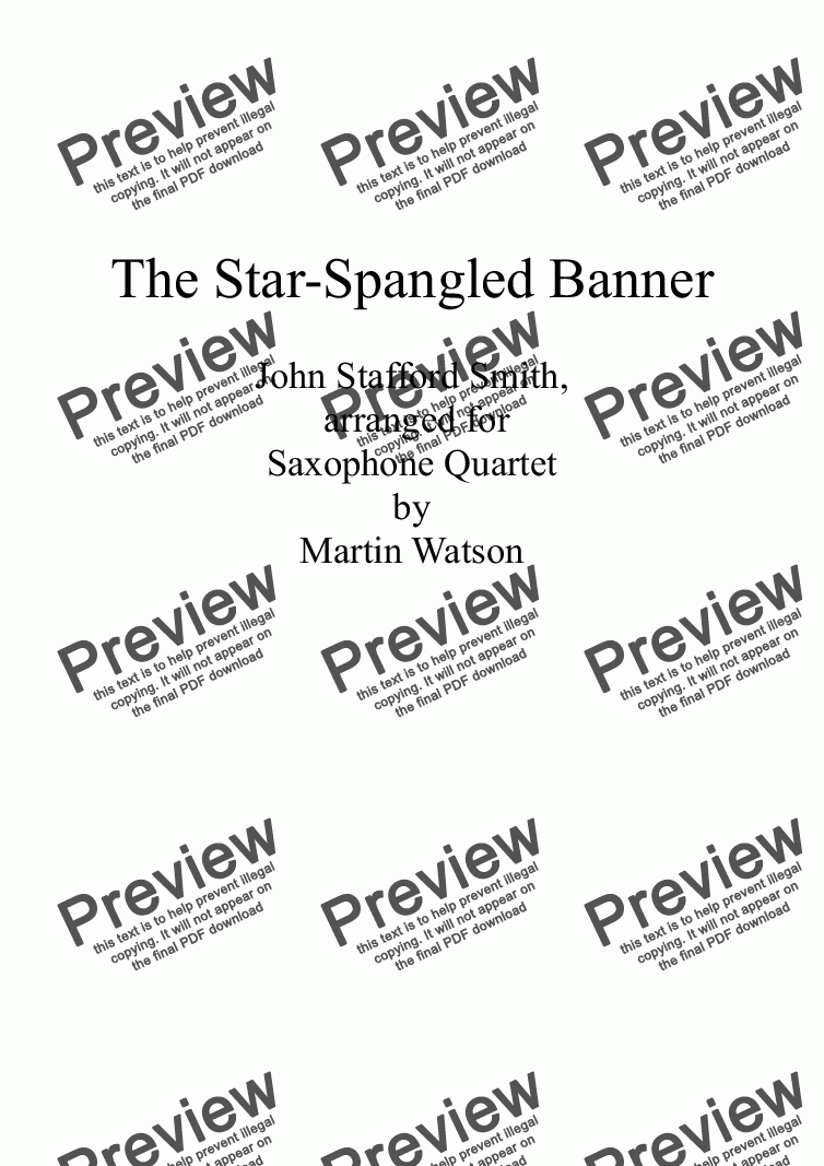 page one of The Star-Spangled Banner for Saxophone Quartet.