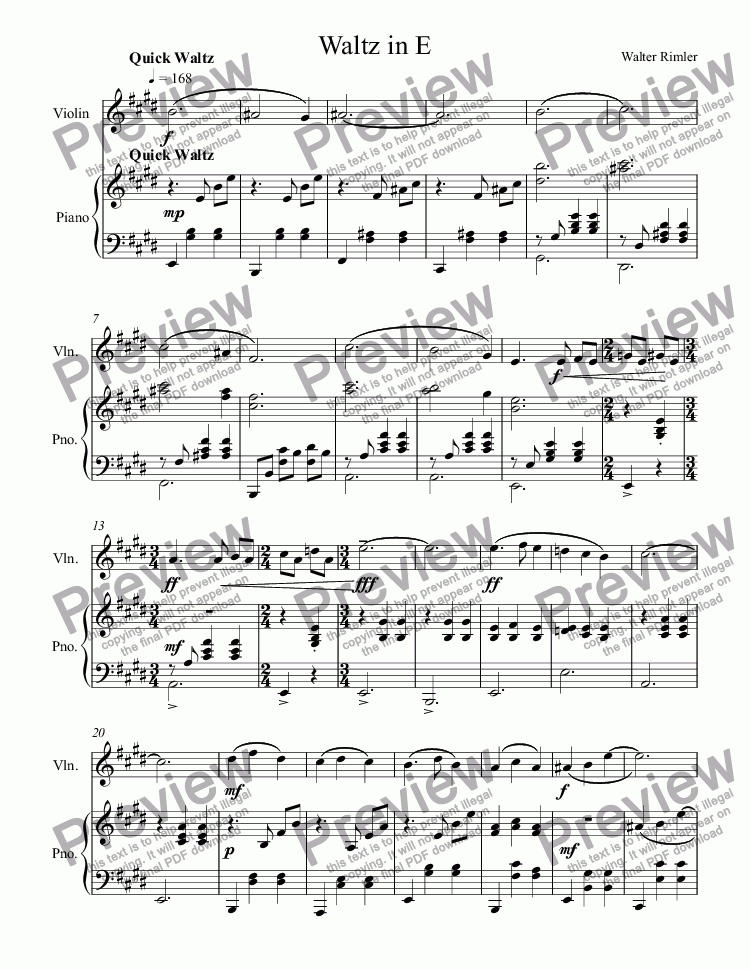 page one of Waltz in E For Violin and Piano