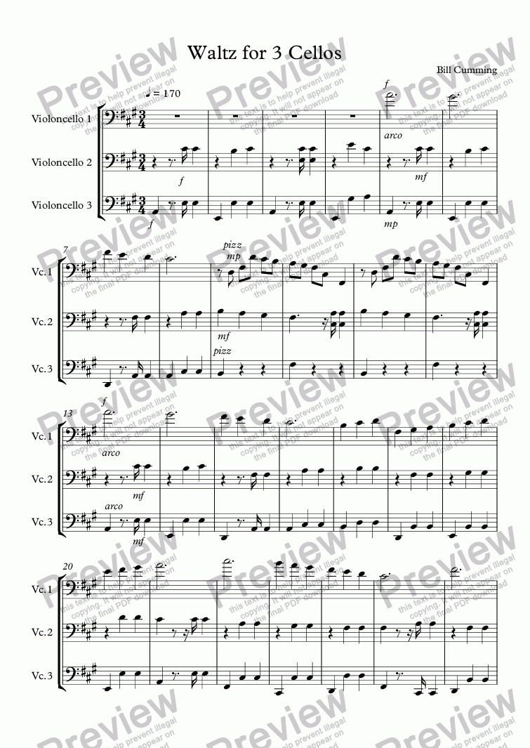 page one of Waltz No2 for 3 CellosASALTTEXT
