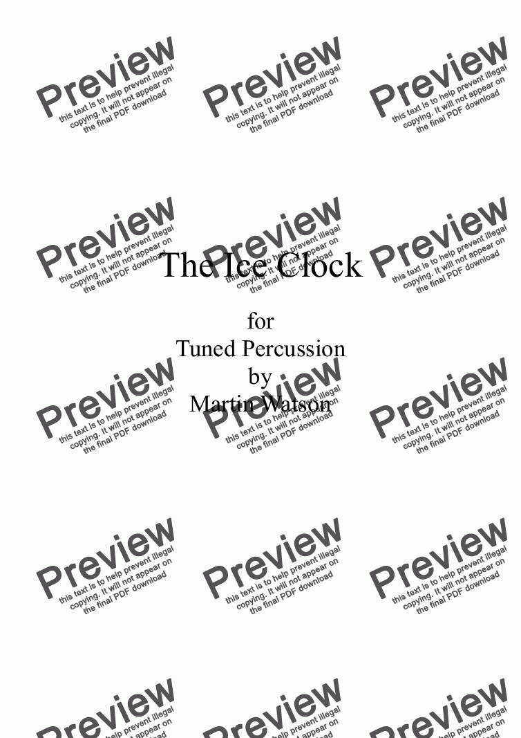 page one of The Ice Clock for Tuned Percussion ASALTTEXT