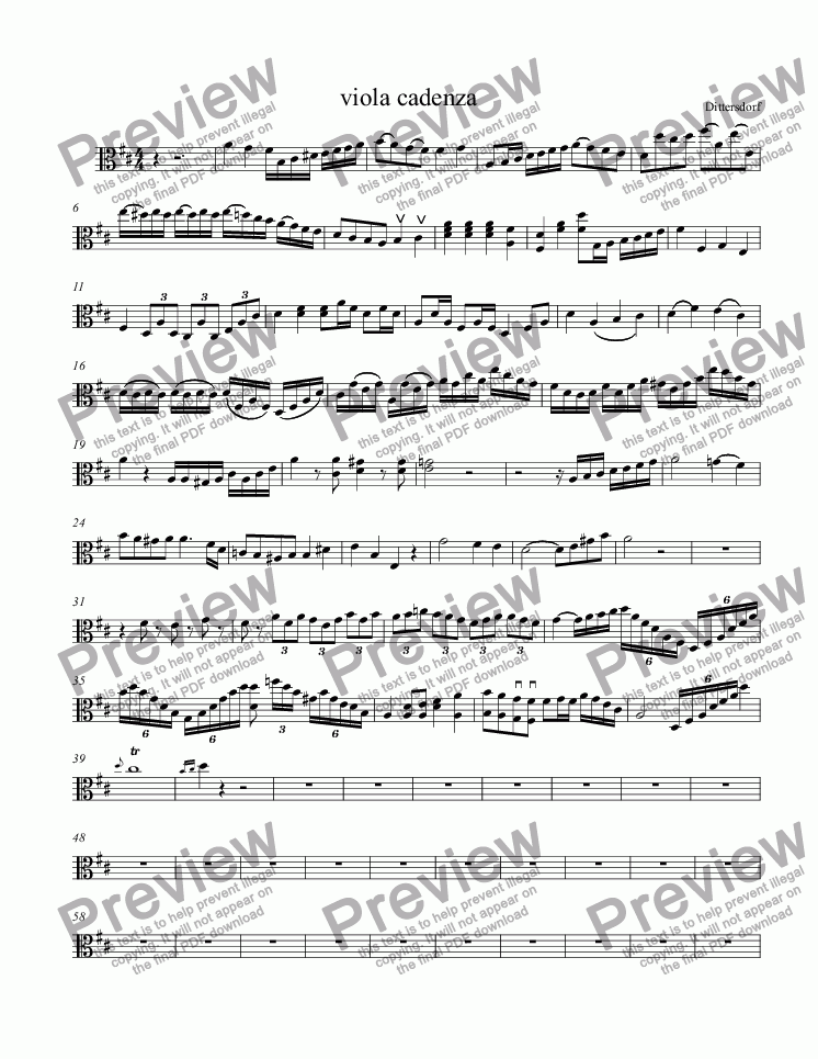 page one of viola cadenza