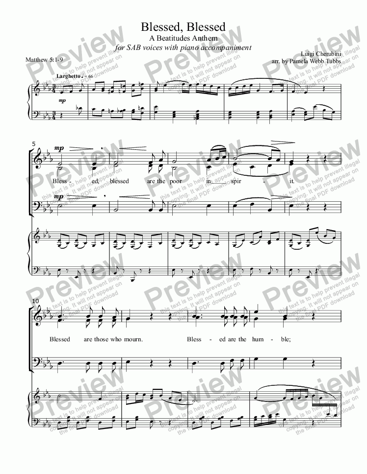 page one of Blessed, Blessed - A Beatitudes Anthem (CHERUBINI) for 3-part mixed voices (SAB) Choir with piano accompaniment, arr. by Pamela Webb Tubbs