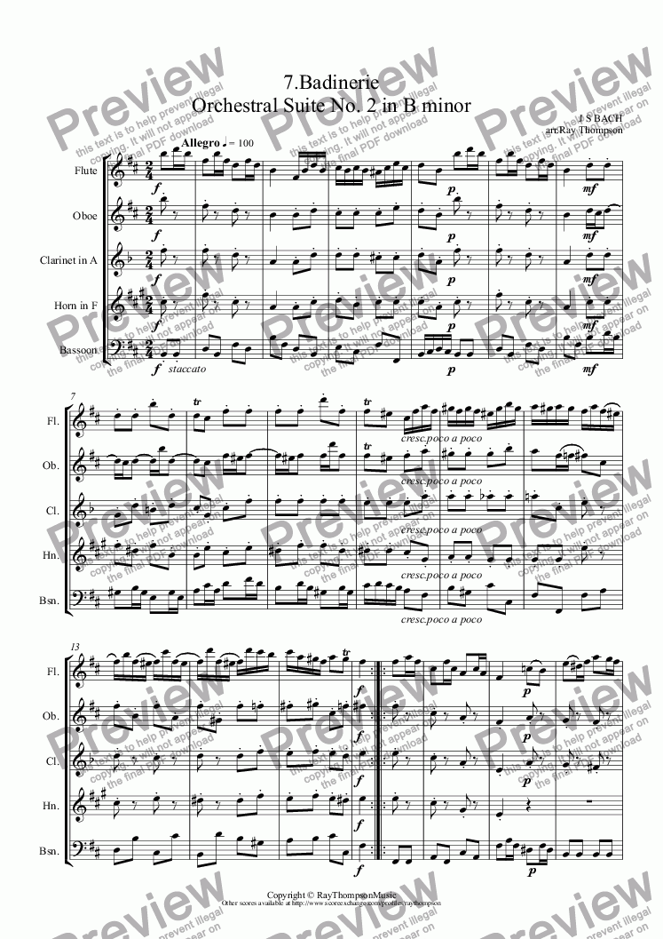 page one of Orchestral Suite No.2 in B minor BWV1067: 7.Badinerie