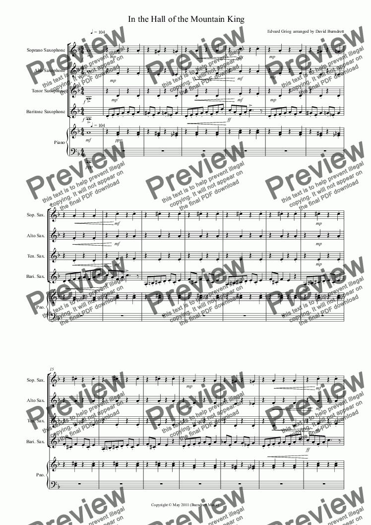 page one of In the Hall of the Mountain King for Saxophone Quartet