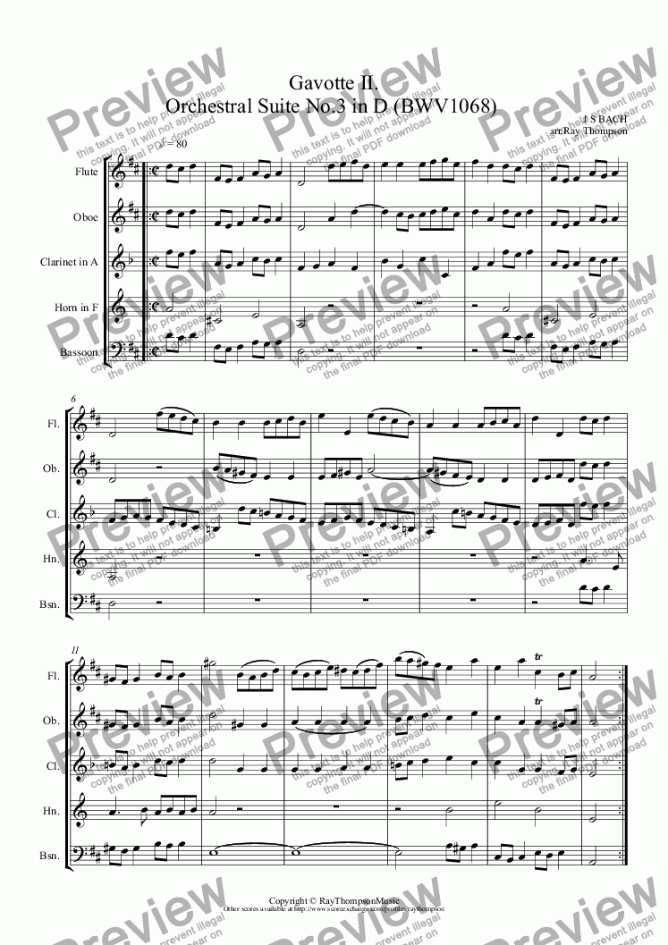 page one of  Orchestral Suite No.3 in D (BWV1068): 4.Gavotte 2