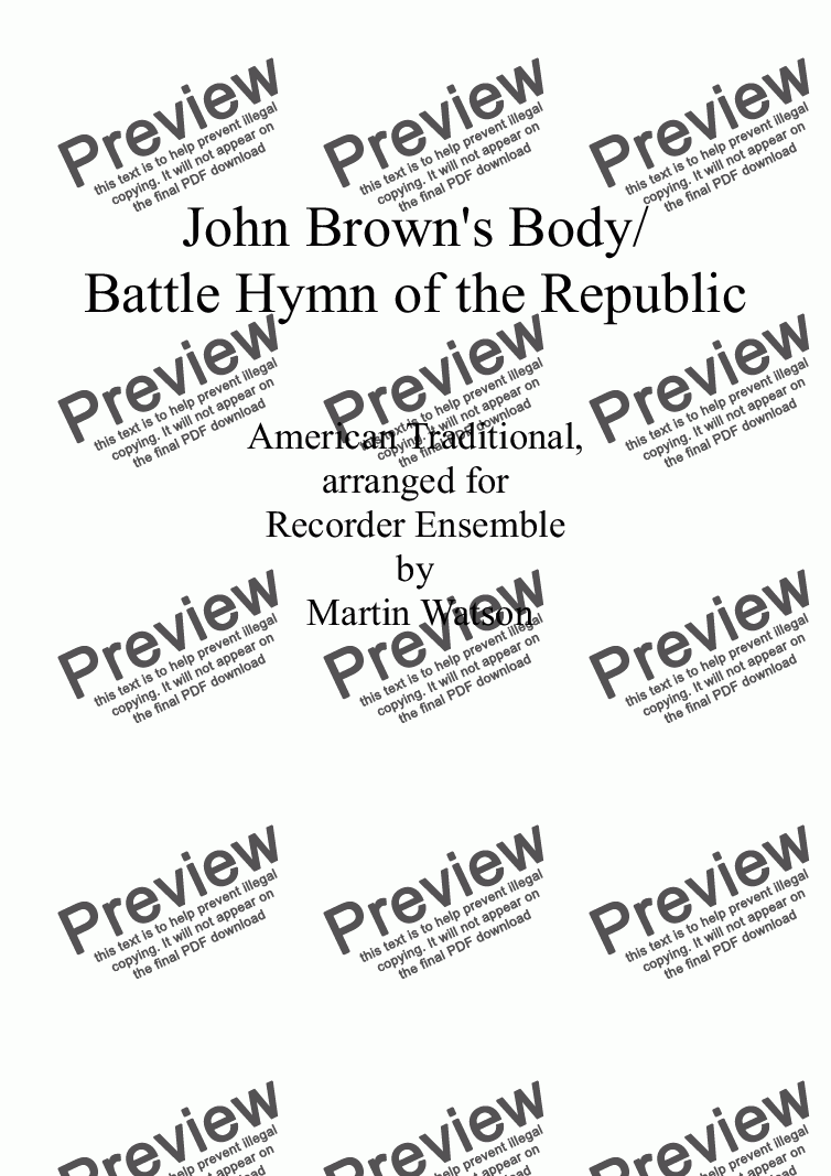 page one of John Brown's Body/Battle Hymn of the Republic for Recorder Ensemble.