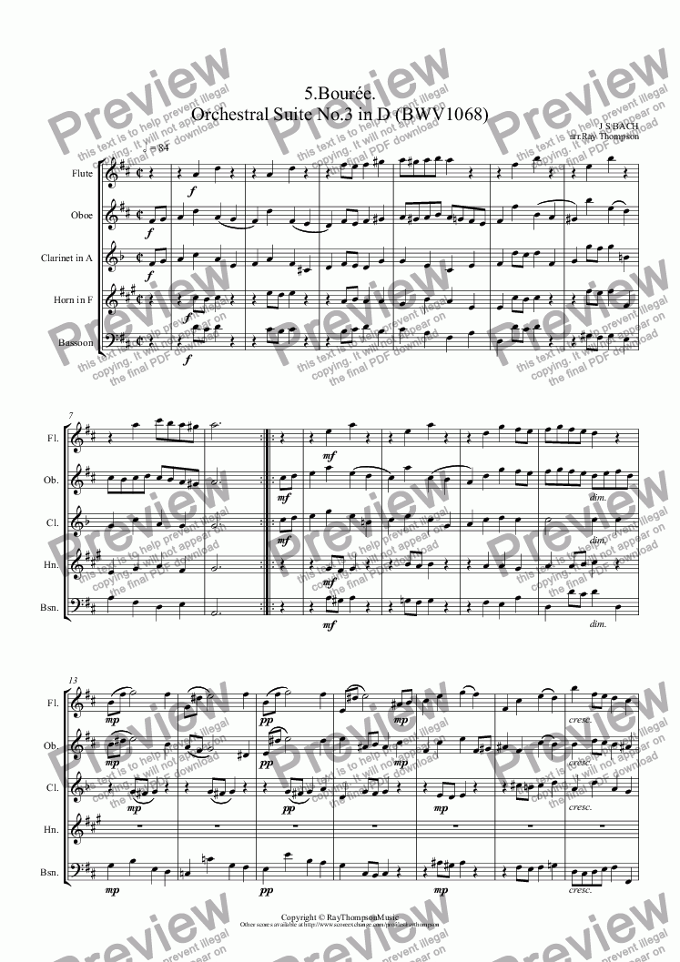 page one of Orchestral Suite No.3 in D (BWV1068): 5.Bourée.