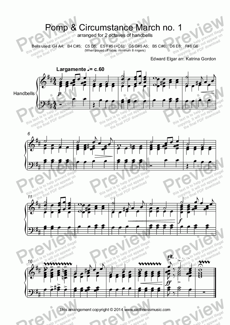 page one of Pomp & Circumstance March no. 1  arranged for 2 octaves of handbells