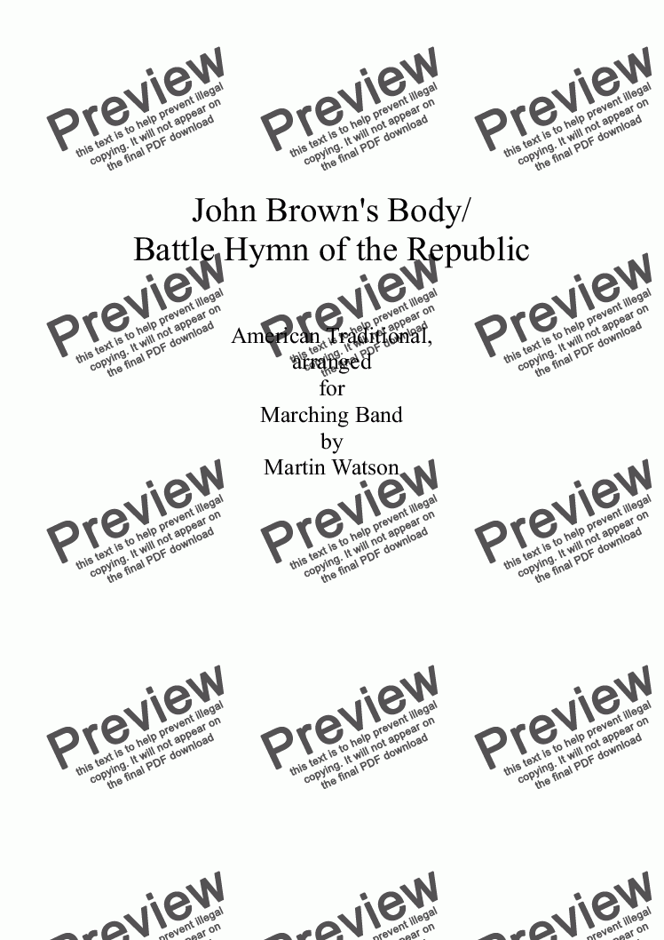 John Brown's Body/ Battle Hymn of the Republic for Marching Band for  Marching band by American Traditional, arranged by Martin Watson - Sheet  Music