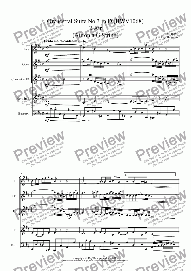 page one of Bach: Orchestral Suite No.3 in D (BWV1068): 5 movements: 2.Air (Air on a G String) 3. & 4. Gavottes 1 & 2 5.Bourée 6. Gigue - wind quintet