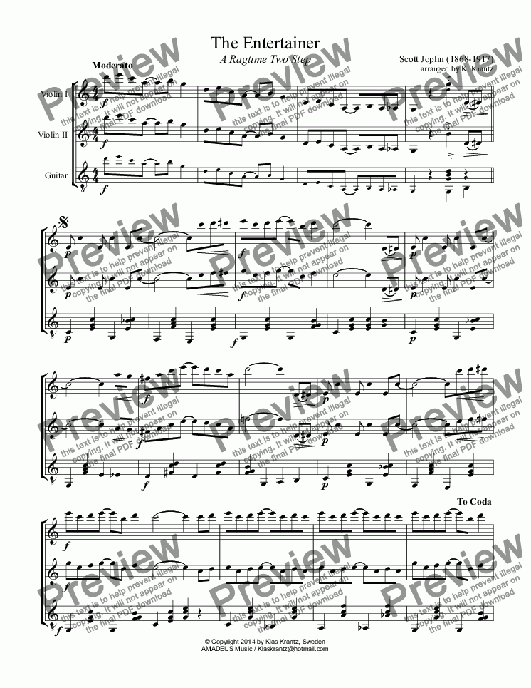 The Entertainer for violin duet and guitar for Trio by Scott Joplin  (1868-1917) arranged by K  Krantz - Sheet Music PDF file to download