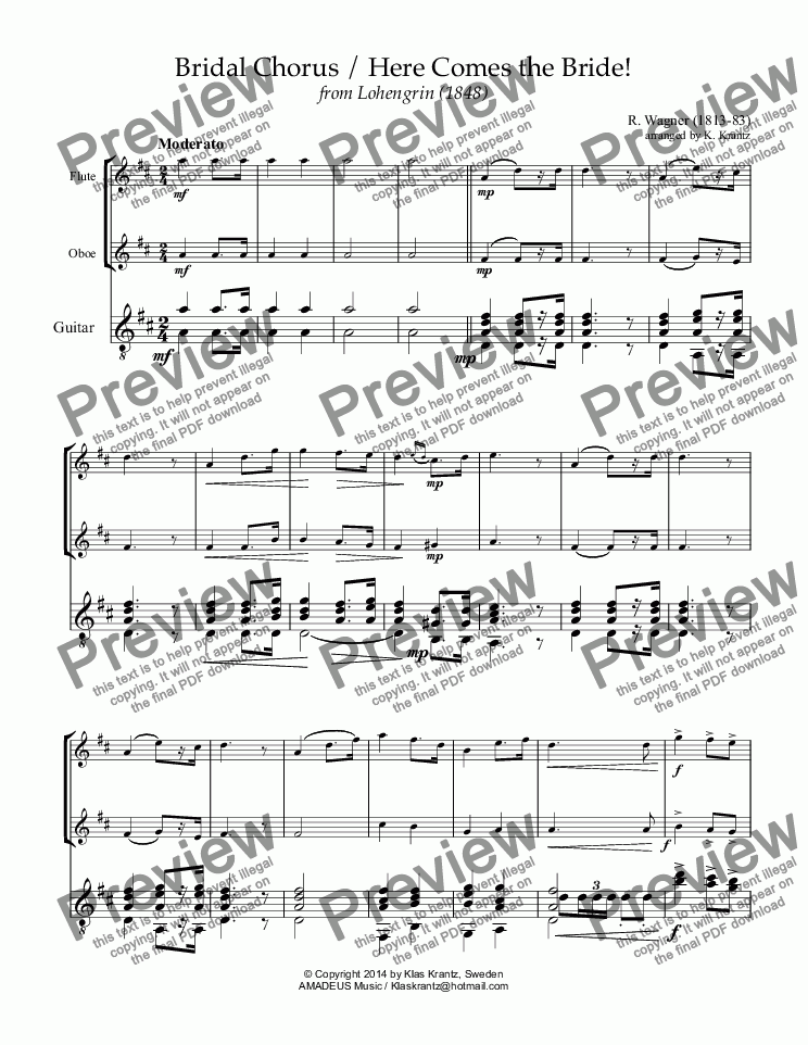 page one of Bridal Chorus / Here Comes the Bride! for flute, oboe and guitar