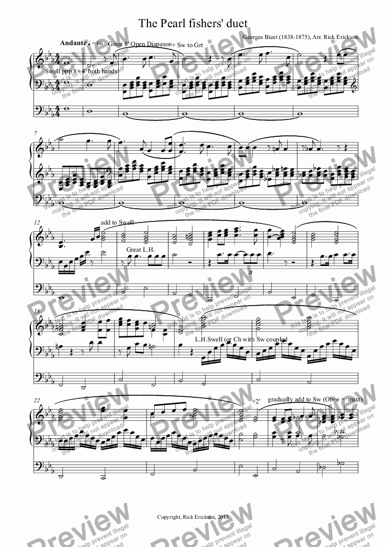 page one of The Pearl fishers' duet