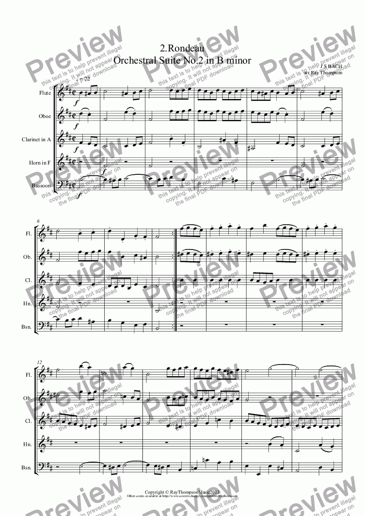 page one of Orchestral Suite No.2 in B minor BWV1067: 2.Rondeau