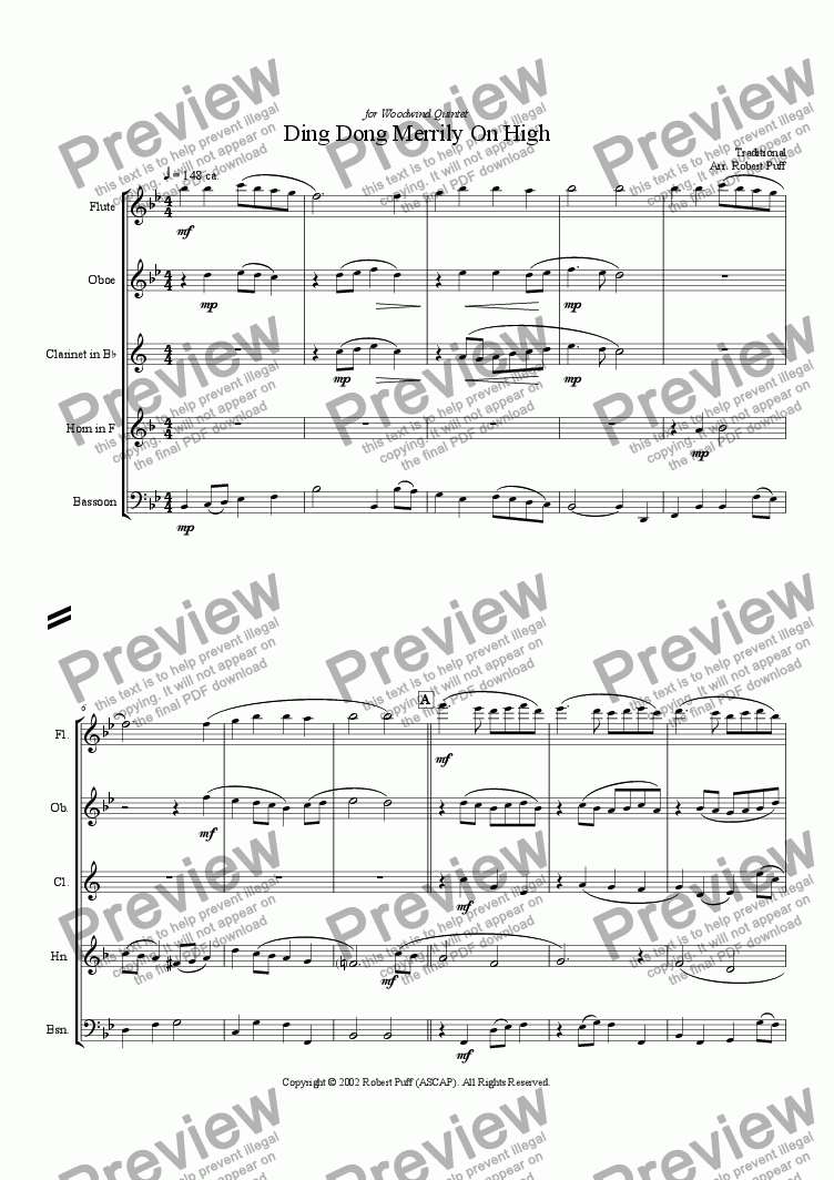 page one of Ding Dong Merrily On High (woodwind quintet)