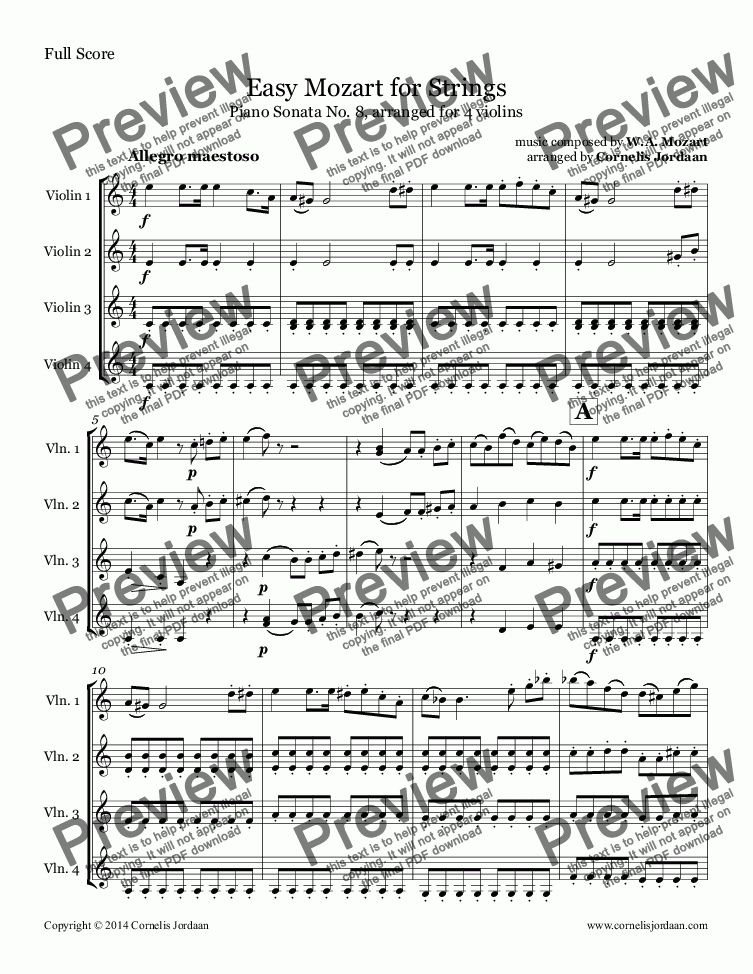 page one of Easy Mozart for Strings - Piano Sonata No. 8, arranged for 4 violins