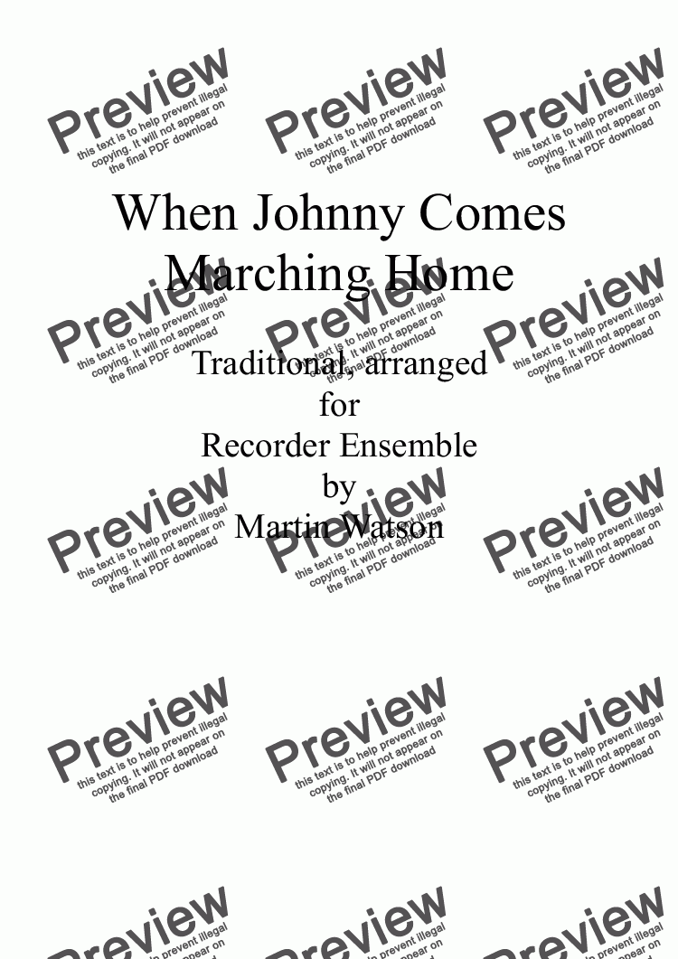 page one of When Johnny Comes Marching Home for Recorder Ensemble