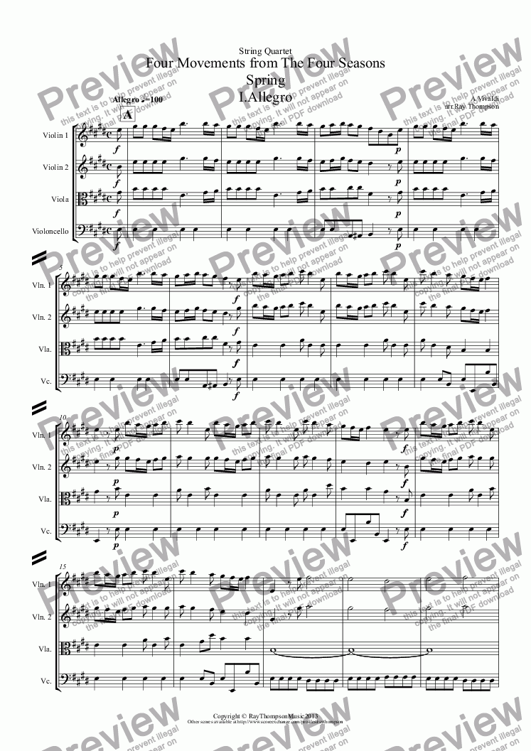 "page one of Four Seasons: A Suite of 4 Movements (easier and abridged): Spring:Mvt.I (""Arrival of Spring"") Winter:Mvt.II (""Peaceful Days in front of the Fire"") Autumn:Mvt I (""Peasant's Dance"") Mvt III ('The Hunt"")(String Quartet)"