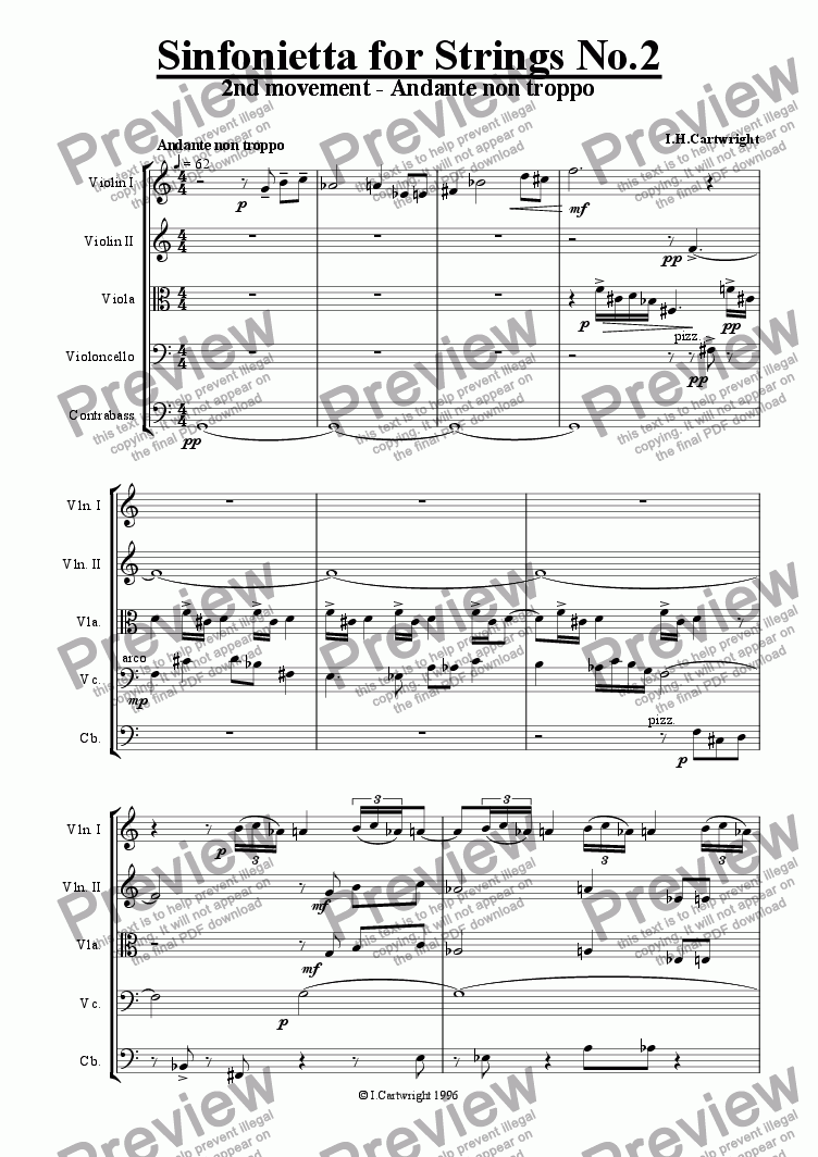 page one of Sinfonietta for Strings No.2 - 2nd Movement