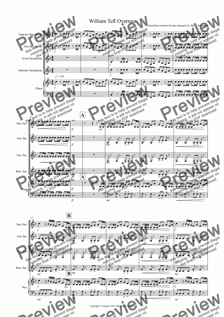 page one of William Tell Overture for Saxophone Quartet